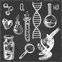 Hand drawn science beautiful vintage lab icons sketch set . Vector illustration.