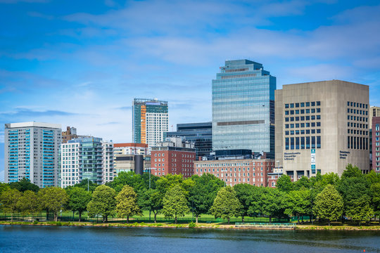 The Charles River and buildings in the West End, in Boston, Mass