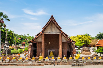 Temple ancient place of worship famous at wat yaichaimongkol, ayutthaya, thailand