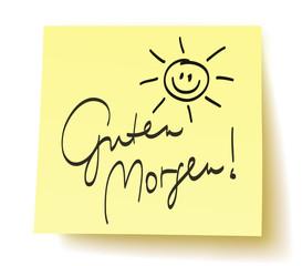 """Quadratisches Postit mit der Aufschrift: """"Guten Morgen!"""" und handgezeichneter Sonne – handschriftlich, Vektor, freigestellt"""