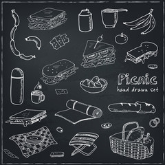 Summer picnic doodle set. Various meals, drinks, objects, sport activities. Vector illustration