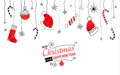 Handdrawn watercolor christmas doodle postcard