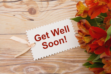 Get Well Soon Gift Tag with Flowers