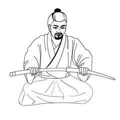 Vector illustration of a Japanese samurai