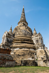 Temple ancient white pagoda place of worship famous at ayutthaya, thailand