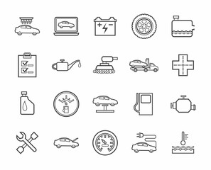 Repair and maintenance of vehicles contour icons.