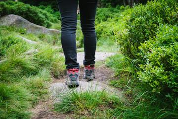 Wanderer mit Wanderschuhen durch den Wald