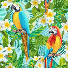 Fotorolgordijn Papegaai Tropical Flowers and Birds Background - Vintage Seamless Pattern