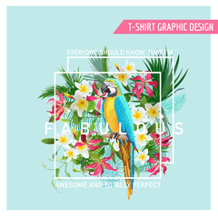 Floral Graphic Design - Tropical Flowers and Parrot Bird - for t-shirt