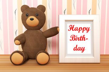 Teddy bear with photo frame, Happy Birthday