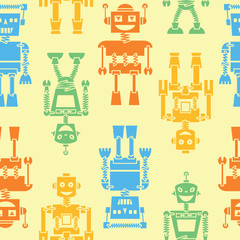 Cute color retro robots vector background seamless pattern