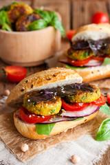 vegan falafel sandwich with vegetables