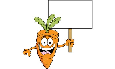 Cartoon illustration of a smiling carrot holding a sign.