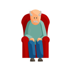 Old man sitting on chair icon in cartoon style isolated on white background