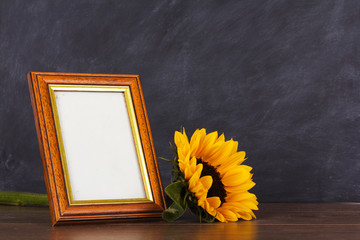 Picture frame and sunflower against a dirty blackboard backgroun