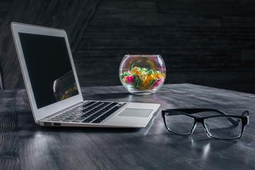 Laptop on designer table