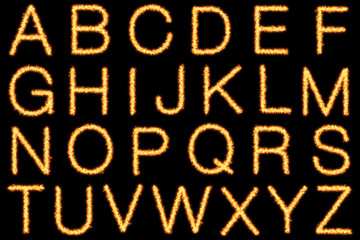 Alphabet with capital fire letters on black background- Helvetica font based