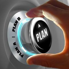 Main choisissant le Plan A ou le Plan B. Concept sur la prise de décision. Rendu 3D