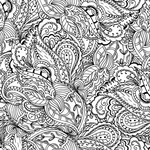 doodle design for wrapping wallpaper fabric canvas - Coloring Book Wallpaper