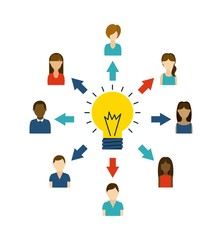 Avatar people and bulb icon. Think and idea design. Vector graph