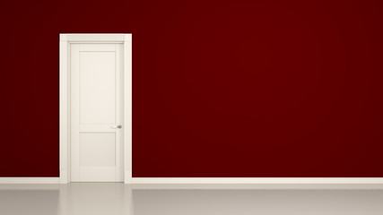 red wall and door background