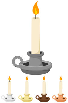 Vector illustration of a candle in a holder, in a variety of colors.