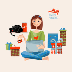 Young woman with laptop and credit card shopping online. Vector illustration