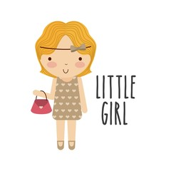 Girl icon. Kid and cute people design. Vector graphic