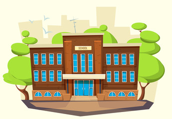 School building . Cartoon and flat style of architecture.