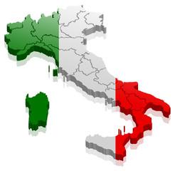 Italien Land Karte 3D Design mit Flagge