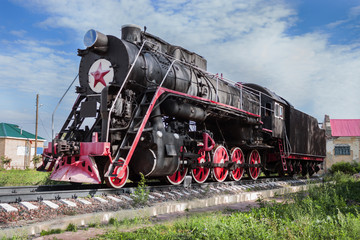 Monument to Russian steam locomotive, built in 1951, Lukoyanov,