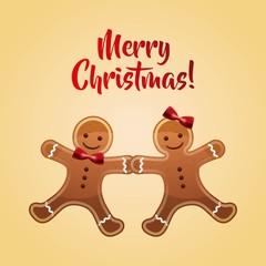 cookie couple cartoon icon. Merry Christmas design. Vector graph