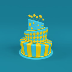 3d illustration of big birthday / holiday three floor cake