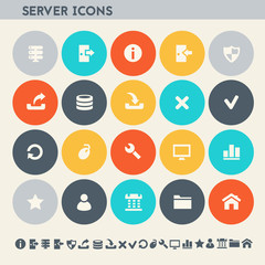 Server icon set. Multicolored flat buttons