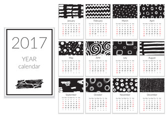 Calendar 2017 Year, A4 Cards Vector With Hand Drawn Textures, Week Starts Sunday.