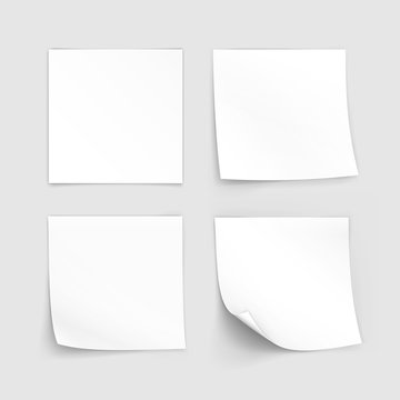 Vector Set of Paper Sticker Sticky Note Post Memo Label