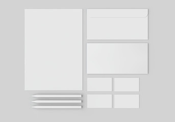 White stationery mock-up, template for branding identity on gray background. For graphic designers presentations and portfolios.