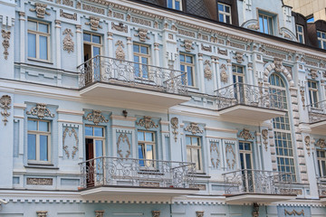 Facade of a historic building in the classical style. Kiev, Ukra