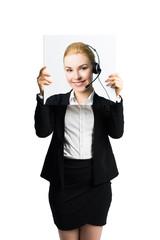 Geschäftsfrau hält Schild mit einem Business-Portrait vor dem Gesicht
