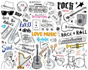 Music Instruments Set. Hand Drawn Sketch, Vector Illustration Isolated.