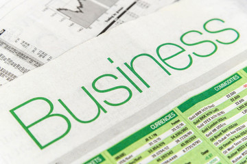 close up shot of Newspaper with Business headline.Image with selective focus.