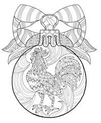 Rooster.Hand drawn doodle zen art