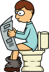 Man Reading Newspaper in Toilet Cartoon Illustration Isolated on White
