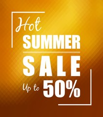 Hot summer sale over sunny golden background
