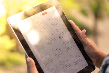 digital planner or Calendar on tablet