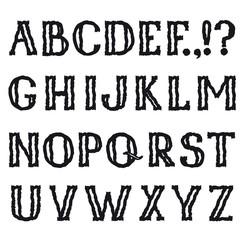 Alphabet. Grunge line pencil drawing decorative font. Hipsters doodle sketched latin letter characters alphabet set