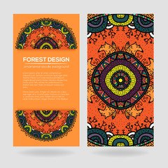 Vector round mandala design in childish style with forest and foxes.
