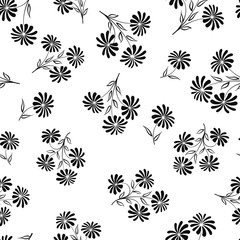 Floral seamless pattern. Flower bouquet background. Flourish chamomlie silhouette ornament