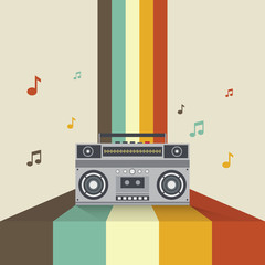Boombox retro vintage style vector illustration
