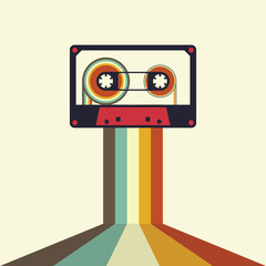 Cassette retro vintage style vector illustration